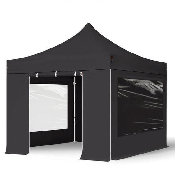 3x3 m Faltpavillon PROFESSIONAL Alu 40mm, Seitenteile mit Panoramafenstern, schwarz