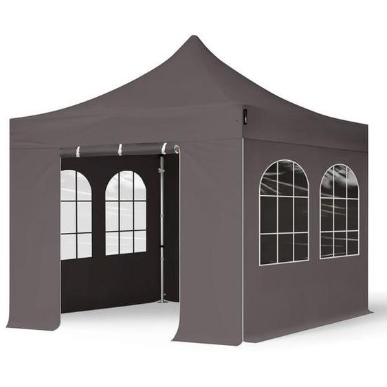 3x3 m Faltpavillon PROFESSIONAL Alu 40mm, Seitenteile mit Rechteckfenstern, dunkelgrau