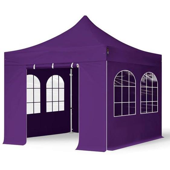 3x3 m Faltpavillon PROFESSIONAL Alu 40mm, Seitenteile mit Rechteckfenstern, lila