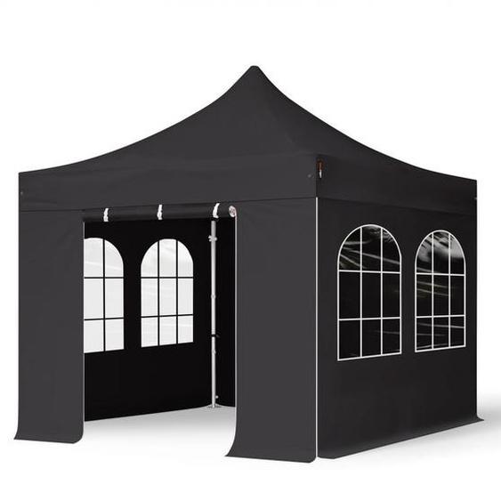 3x3 m Faltpavillon PROFESSIONAL Alu 40mm, Seitenteile mit Rechteckfenstern, schwarz