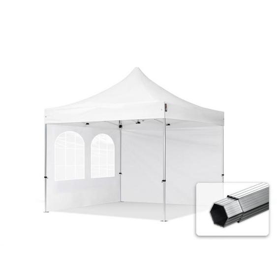 3x3 m Faltpavillon PROFESSIONAL Alu 40mm, Seitenteile mit Rechteckfenstern, weiß