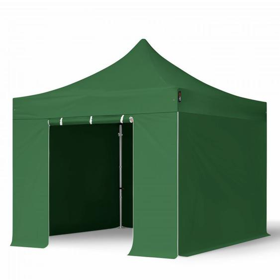 3x3 m Faltpavillon PROFESSIONAL Alu 40mm, Seitenteile ohne Fenster, dunkelgrün