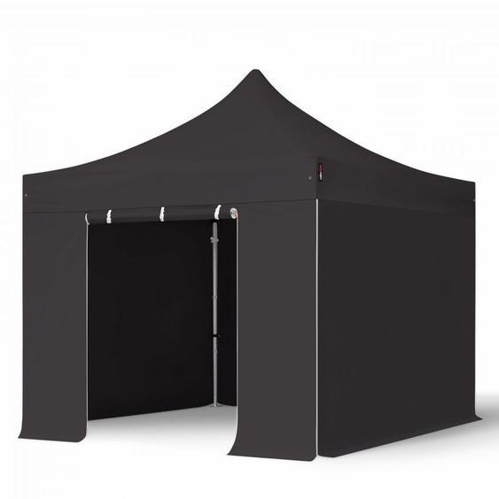 3x3 m Faltpavillon PROFESSIONAL Alu 40mm, Seitenteile ohne Fenster, schwarz