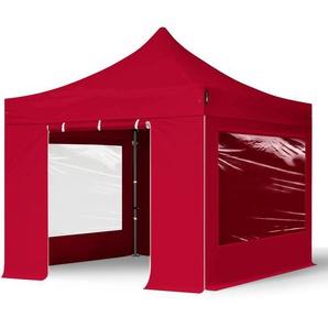 3x3 m Faltpavillon PROFESSIONAL Stahl 40 mm, Seitenteile mit Panoramafenstern, rot