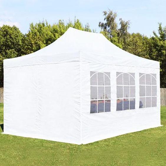 3x4,5 m Faltpavillon, ECONOMY Stahl 30 mm, Seitenteile mit Rechteckfenstern, weiß
