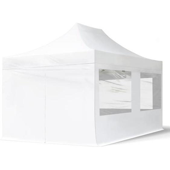 3x4,5 m Faltpavillon, ECONOMY Stahl 30mm, Seitenteile mit Panoramafenstern, weiß