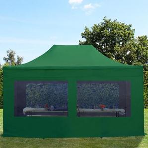 3x4,5 m Faltpavillon PREMIUM Alu 36 mm, Seitenteile mit Panoramafenstern, dunkelgrün