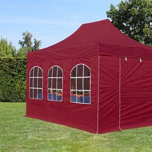 3x4,5 m Faltpavillon PREMIUM Alu 36 mm, Seitenteile mit Rundbogenfenstern, rot