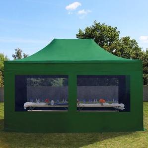 3x4,5 m Faltpavillon PREMIUM Stahl 32 mm, Seitenteile mit Panoramafenstern, dunkelgrün