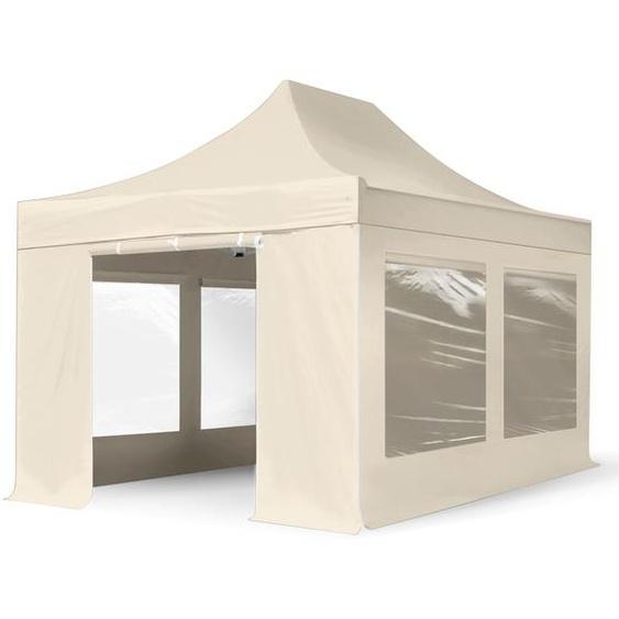 3x4,5 m Faltpavillon, PREMIUM Stahl 40mm, Seitenteile mit Panoramafenstern, creme