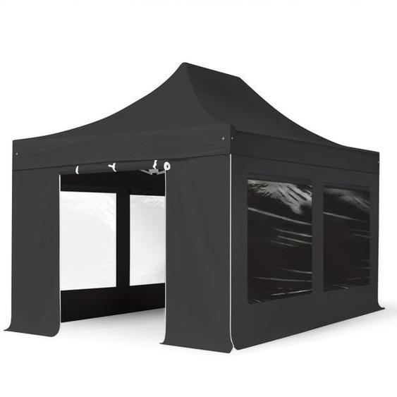 3x4,5 m Faltpavillon, PREMIUM Stahl 40mm, Seitenteile mit Panoramafenstern, schwarz