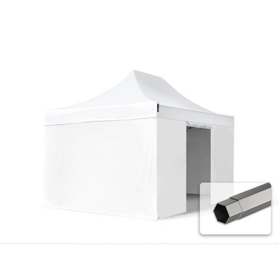 3x4,5 m Faltpavillon, PREMIUM Stahl 40mm, Seitenteile ohne Fenster, weiß