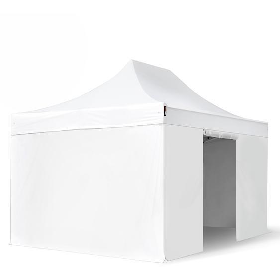 3x4,5 m Faltpavillon, PROFESSIONAL Alu 40mm, feuersicher, Seitenteile ohne Fenster, weiß