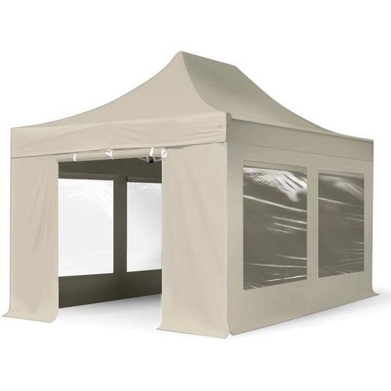 3x4,5 m Faltpavillon PROFESSIONAL Alu 40mm, Seitenteile mit Panoramafenstern, creme
