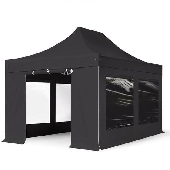 3x4,5 m Faltpavillon PROFESSIONAL Alu 40mm, Seitenteile mit Panoramafenstern, schwarz