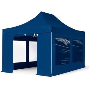 3x4,5 m Faltpavillon PROFESSIONAL Stahl 40 mm, Seitenteile mit Panoramafenstern, blau