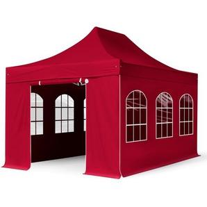 3x4,5 m Faltpavillon PROFESSIONAL Stahl 40 mm, Seitenteile mit Rundbogenfenstern, rot