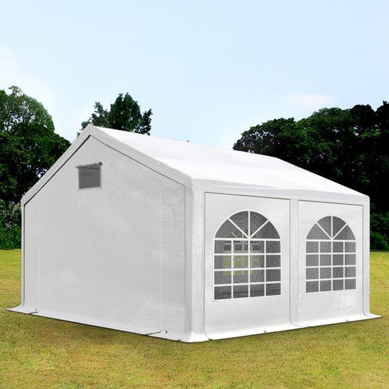 3x4 m Partyzelt, PE 300 g/m², mit Bodenrahmen, weiß