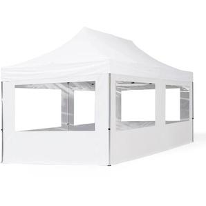 3x6 m Faltpavillon ECONOMY Alu 32 mm, Seitenteile mit Panoramafenstern, weiß