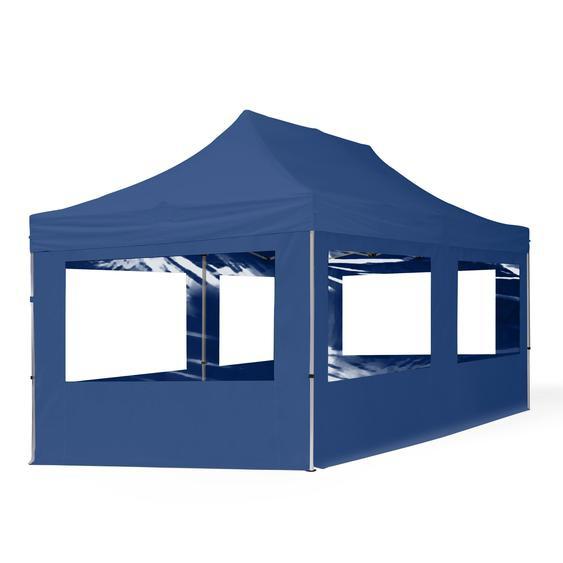 3x6 m Faltpavillon, ECONOMY Alu 32mm, Seitenteile mit Panoramafenstern, blau