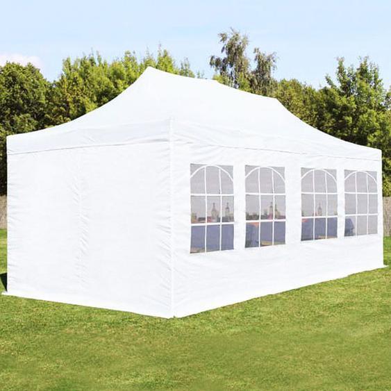 3x6 m Faltpavillon, ECONOMY Stahl 30mm, Seitenteile mit Rechteckfenstern, weiß