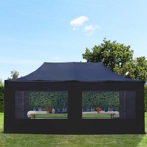 3x6 m Faltpavillon PREMIUM Alu 36 mm, Seitenteile mit Panoramafenstern, schwarz