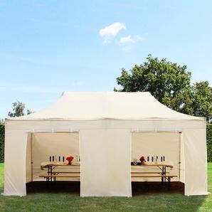 3x6 m Faltpavillon PREMIUM Alu 36 mm, Seitenteile ohne Fenster, creme