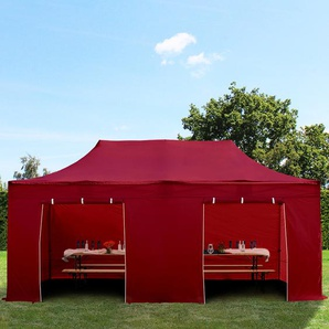 3x6 m Faltpavillon PREMIUM Alu 36 mm, Seitenteile ohne Fenster, rot
