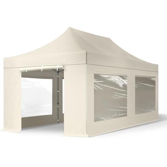 3x6 m Faltpavillon, PREMIUM Stahl 40mm, Seitenteile mit Panoramafenstern, creme