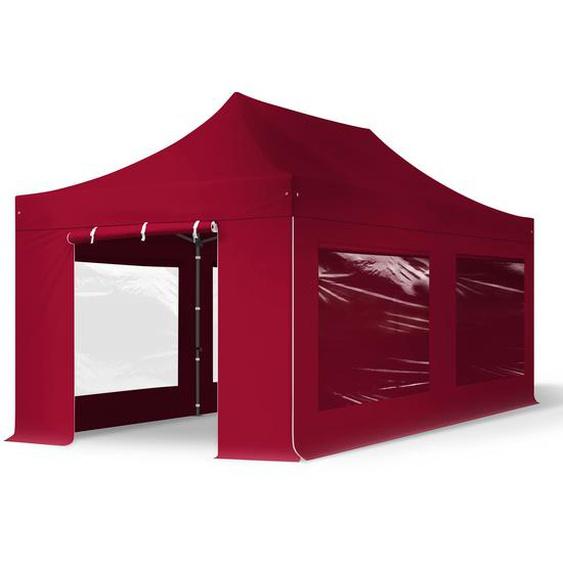 3x6 m Faltpavillon, PREMIUM Stahl 40mm, Seitenteile mit Panoramafenstern, rot