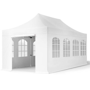 3x6 m Faltpavillon PROFESSIONAL Alu 40 mm, feuersicher, Seitenteile mit Rundbogenfenstern, weiß