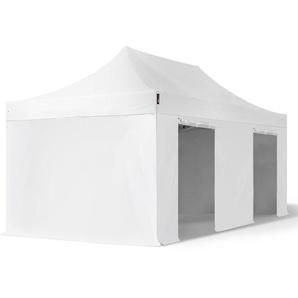 3x6 m Faltpavillon PROFESSIONAL Alu 40 mm, feuersicher, Seitenteile ohne Fenster, weiß