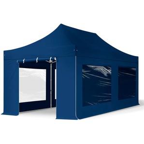3x6 m Faltpavillon PROFESSIONAL Alu 40 mm, Seitenteile mit Panoramafenstern, blau
