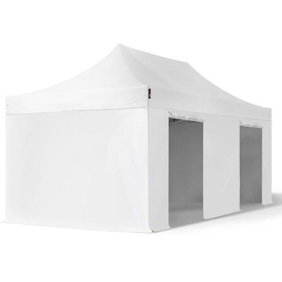 3x6 m Faltpavillon, PROFESSIONAL Alu 40mm, feuersicher, Seitenteile ohne Fenster, weiß