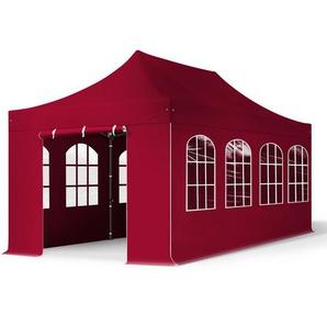 3x6 m Faltpavillon PROFESSIONAL Stahl 40 mm, Seitenteile mit Rundbogenfenstern, rot