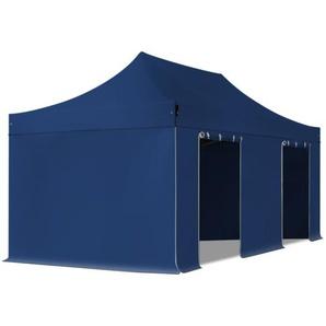 3x6 m Faltpavillon PROFESSIONAL Stahl 40 mm, Seitenteile ohne Fenster, blau