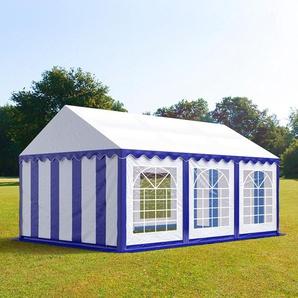 3x6 m Partyzelt, PVC-Plane 500 g/m², blau-weiß