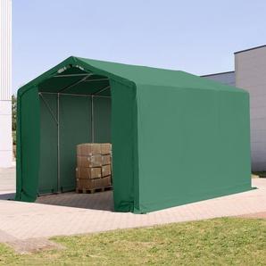 3x6 m Zelthalle - 3,0 m Seitenhöhe mit Reißverschlusstor, PVC 550 g/m² dunkelgrün | mit Statik (Erduntergrund)