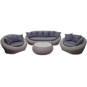 4-1-1 Poly Rattan Garnitur HHG-497, Lounge-Set Sofa, halbrundes Rattan Alu-Gestell oval ~ grau, Kissen dunkelgrau