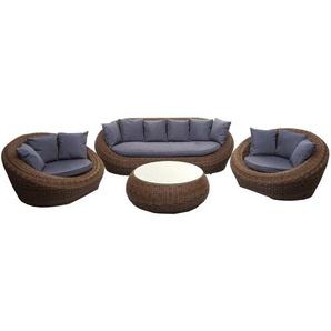 4-1-1 Poly Rattan Garnitur HHG-497, Lounge-Set Sofa, halbrundes Rattan Alu-Gestell oval ~ braun, Kissen dunkelgrau