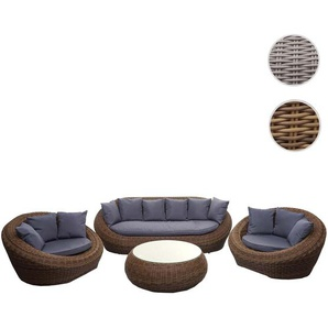 4-1-1 Poly Rattan Garnitur HWC-F88, Lounge-Set Sofa, halbrundes Rattan Alu-Gestell oval ~ braun, Kissen dunkelgrau