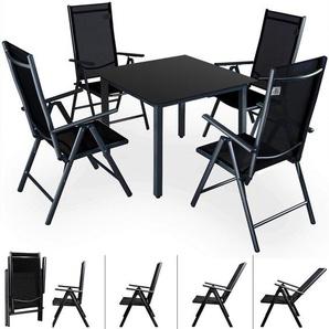 Deuba Sitzgruppe Bern 4+1 | Aluminium | 7-Fach verstellbare Hochlehner | Tisch mit Sicherheitsglas | Anthrazit - Garten Set - CASARIA