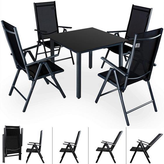 4+1 Sitzgruppe Alu Bern Klappstühle Gartentisch 90x90cm Sitzgarnitur Gartenmöbel Set anthrazit - Casaria