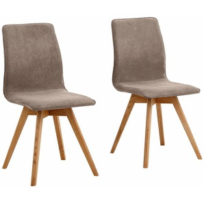 Stühle »Rania«, dunkelbraun, 2er Set, Luxus-Microfaser, Beine Eiche, FSC®-zertifiziert, andas