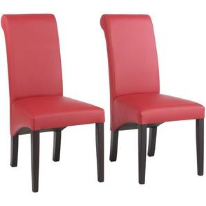 Home affaire Stühle rot, 4er Set, Echtleder, Beine kolonialfarben, »Rito«, pflegeleichtes Kunstleder, FSC®-zertifiziert