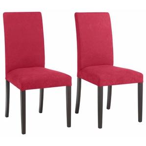 Home affaire Stühle Luxus-Microfaser »Roko« rot, 4er-Set, Luxusmicrofaser, Beine kolonialfarben, strapazierfähig, FSC®-zertifiziert