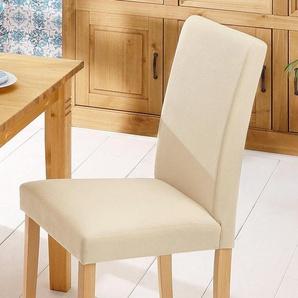 Home affaire Stühle Luxus-Microfaser beige, 6er-Set, Luxusmicrofaser, Beine Buche, »Roko«, strapazierfähig, FSC®-zertifiziert
