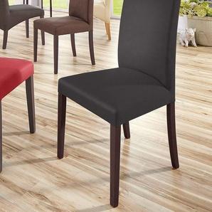 Home affaire Stühle »Roko« braun, 4er Set, Kunstleder, Beine kolonialfarben, strapazierfähig, FSC®-zertifiziert