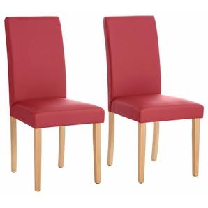 Home affaire Stühle »Roko« rot, 2er-Set, Kunstleder, Beine Buche, strapazierfähig, FSC®-zertifiziert