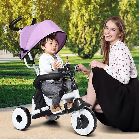 4-in-1 Kinderdreirad Klappbar Baby-Dreirad 3 Räder Fahrrad mit Markise Rosa